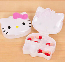 Cute Pink Bow HelloKitty Pill Box Organizer Medicine Vitamin Storage Travel AA-9