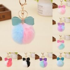 New Rabbit Fur Pom-pom Key Chain Charm Fluffy Puff Ball Bow Key Ring Car Pendant