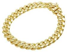 Mens 10K Yellow Gold Hollow Miami Cuban Link Box Clasp Bracelet 9MM 8-9 Inches