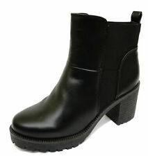 LADIES BLACK PULL-ON ANKLE BIKER CALF PLATFORM STRETCH CHUNKY BOOTS SHOES 3-8