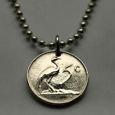 South Africa 5 cents coin pendant African Blue crane Cape Town Pretoria n000569