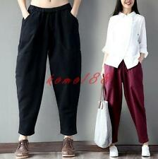 Retro chinese Womens Cotton Linen Loose Fit Harem Pants casual cropped Trousers