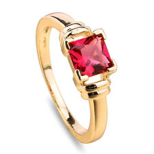 Charm Women Lady Rectangle Ruby 18k Yellow Gold Filled Rings Jewelry Sz 6/7/8/9