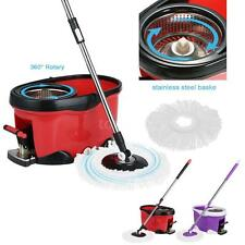 Stainless Steel 360°Rolling Spin Mop & Bucket Set Foot Pedal 2 Mop Heads O6K5