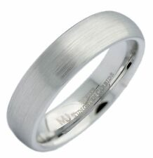 6mm White Tungsten Carbide Brushed Classic Domed Wedding Ring