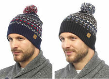 Mens Fairisle Design Chunky Knitted Warm Winter Bobble Beanie Hat