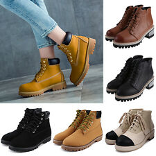 Womens Block Chunky Mid Heels Lace Up Hiking Outdoor Martens Shoes Ankle Boots