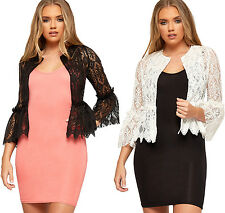 Womens Floral Lace Open Long Bell Sleeve Cardigan Ladies Sheer Frill Ruffle Top