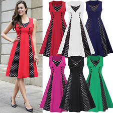 New Midi Polka Dot Prom Rockabilly Swing Dress 50s Hepburn Vintage Prom Dresses
