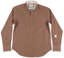 Solid Color Button Down Long Sleeve Collared Woven Shirt Justing Mens Brown