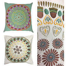 100% Cotton Mandala Embroidered Cushion Cover – Handmade in India – 18x18 inches