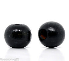 Wholesale Lots Gift Black Dyed Round Wood Spacer Beads 10x9mm