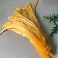 Beautiful 10-100 pcs 10-12 inches / 25-30 cm natural Gold rooster tail feathers