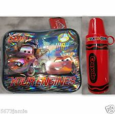 Disney Pixar Cars Insulated Lunch Pack Cooler Bag&Crayola Red Thermo 2pc Set