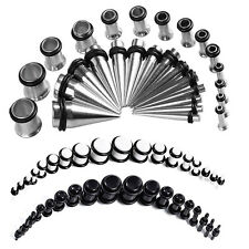 72Pc Fashion Tapers and Plugs Ear Stretching Stretcher Stainless Steel Expander