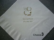 100 Personalised Wedding Napkins 10 designs  12 colours