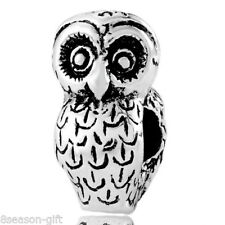 Wholesale Lots Gift Silver Tone Owl Charm Beads Fit Charm Bracelet 18x10mm