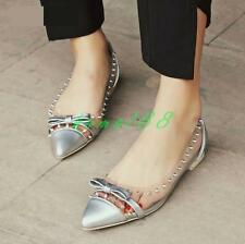 Womens Rivet Bowtie Patent Leather Pointy Toe Casual Flat Shoes loafer plus size