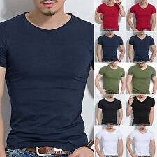 Fashion Mens Slim Fit Cotton Tops T-Shirt Short Sleeve Casual O/V-Neck Style Tee