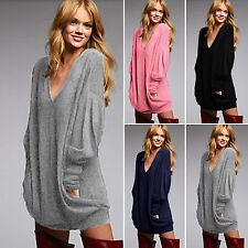 Womens Long Sleeves Knitted Sweater Mini Dresses Oversized Pullover Jumper Tops