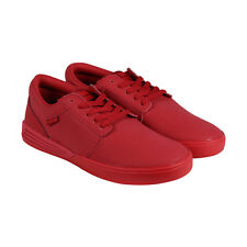 Supra Hammer Mens Red Leather Lace Up Sneakers Shoes