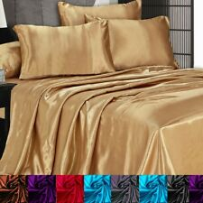 Satin Silky Sheet Set Queen/King Size Flat Fitted Pillows 500TC  All Colors