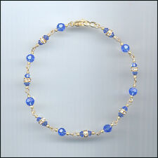 Dainty Gold Filled Anklet with Swarovski SAPPHIRE BLUE Crystals & Rondelles