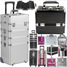 Aluminum 4in1 Extra Large Makeup Case Hairdressing Vanity Cosmetic Box Trolley