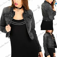 Womens Collared Button Down Pocket Acid Wash Faded Long Sleeve Denim Crop Jacket