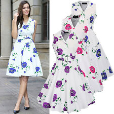 Black Floral Evening Midi Vintage Skater Summer Occasion Party Dress Plus Size