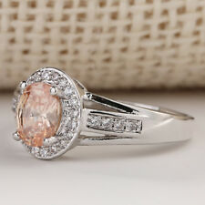 Champagne Luxury Topaz CZ Wedding Engagement white Gold filled Ring SZ 7-10 NEW