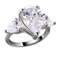 cute Fashion White Gold Filled Silver Clear Crystal Ring set Size 6 7 8 9