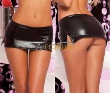 Women's Lingerie PVC Wet Look Mini Skirt & Sexy G-string underwear Clubwear Sets