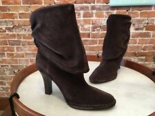 Hot in Hollywood Chocolate Brown Suede Slouchy High Heel Ankle Boots New