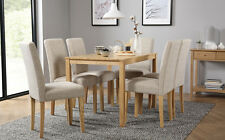 Milton & City Oak Dining Table and 4 6 Fabric Chairs Set (Oatmeal)