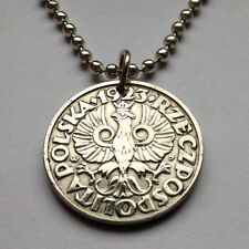 Poland 20 Groszy coin pendant Polish crowned white eagle Polska Warsaw n000810
