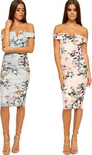 Womens Off Shoulder Floral Print V-Neck Stretch Ladies Bodycon Midi Dress 8-14