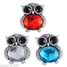 Gift Wholesale Crystal Snap Buttons Cute Owl Regular Mixed Jewelry Necklace