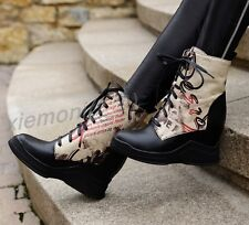 Womens Fashion High Top Sneaker Ankle Boots Lace Up Hidden Wedge Shoes Sz 4-10.5