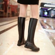 Winter Fashion Womens Zip up mid wedge Heels knee high top Riding Boots