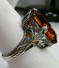 10ct*Orange Citrine* Sterling Silver Art Deco Filigree Ring Size {Made To Order}