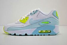 Nike Air Max 90 LTR GS Running Shoes Size 4.5Y - 7Y White Blue Volt 833376 100