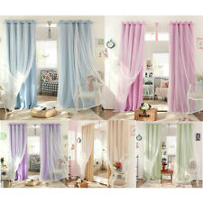 2-in-1 Solid Sheer Curtain Window Blinds Drape with Grommets Top, 100cmx250cm