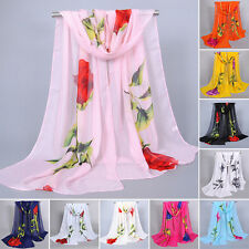 Women's Large Soft Floral Chiffon Scarf Shawl Wrap Beach Evening Cover-up Comfy