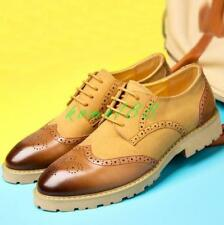 Mens Oxfords Lace Up carved Formal Shoes Dress Sz Suede Brogues Wing tip size