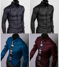 New Stylish Men's Slim Fit Casual Shirts Formal Dress Shirts Long Sleeve Tops DG