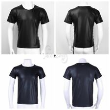 Boxers Muscle Shirt Mens Short Sleeve Slim Patent Leather Black T-Shirt Tee Tops