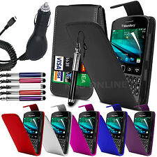 PU Leather Flip Case Cover, LCD Film, Pen & In Car Charger For Blackberry 9720