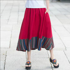 6722 New Women Chinese Style Cotton linen Dresses Lady ethnic Embroidery skirt