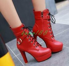 New Womens chunky High Heels Platform Ankle Boots Buckle Lace Up zip up Shoes